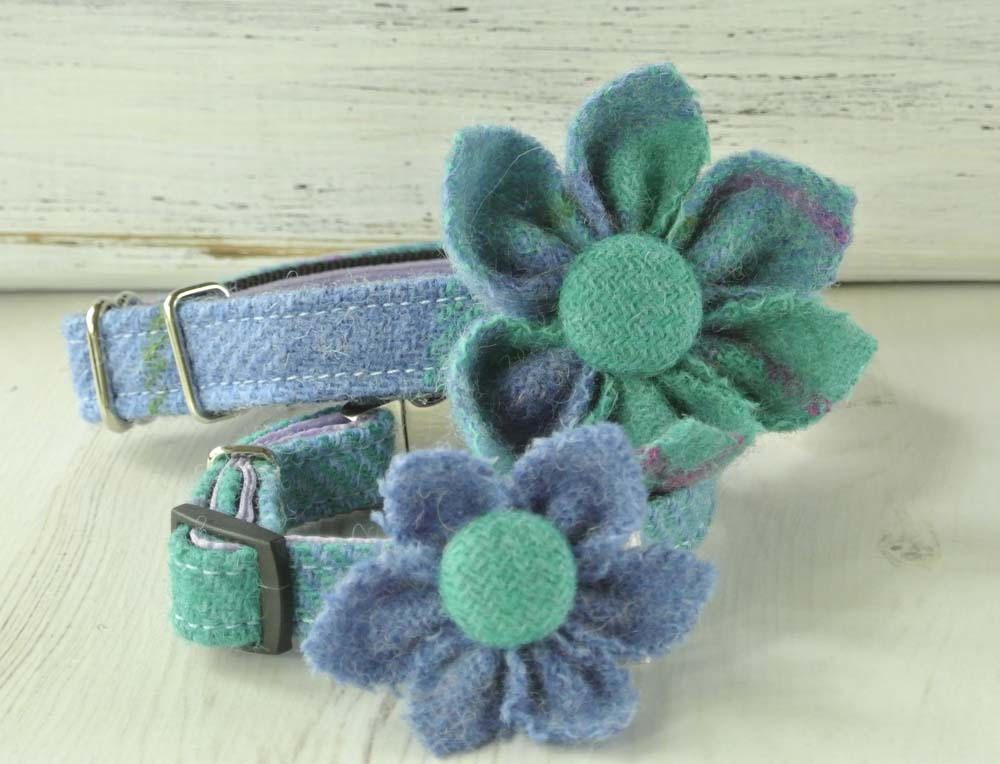 Blue  flower dog  collar ornament