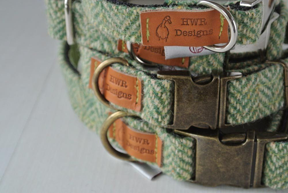 Green Harris Tweed Dog Collar Quick Release Buckle
