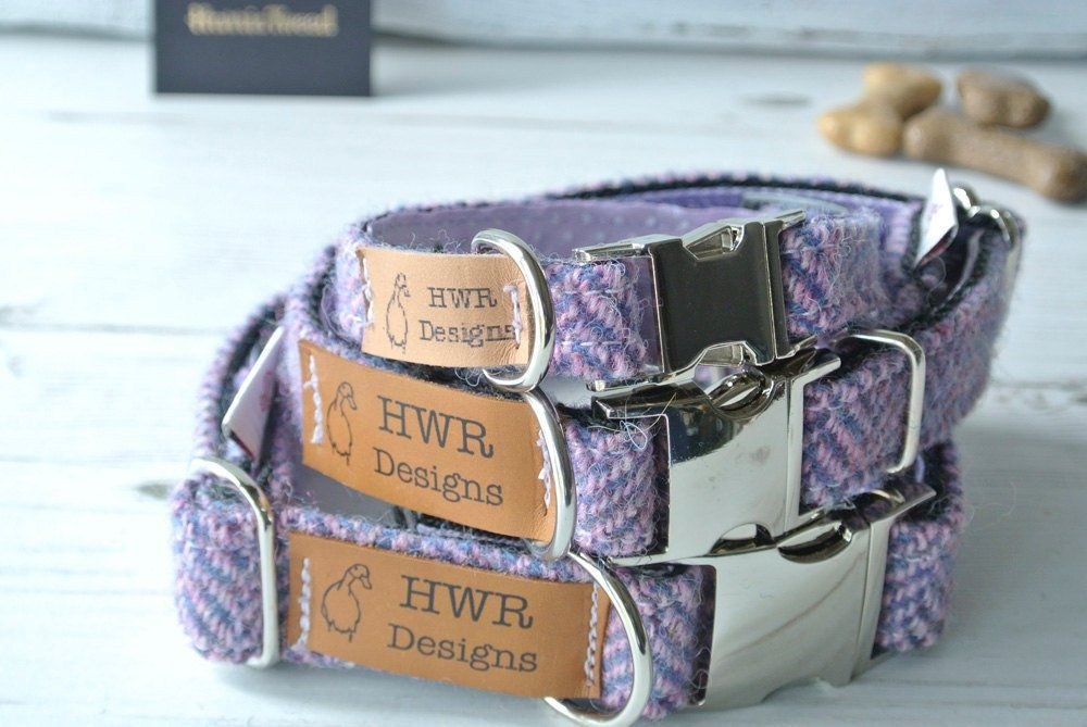 Lavender  Tweed Dog collar