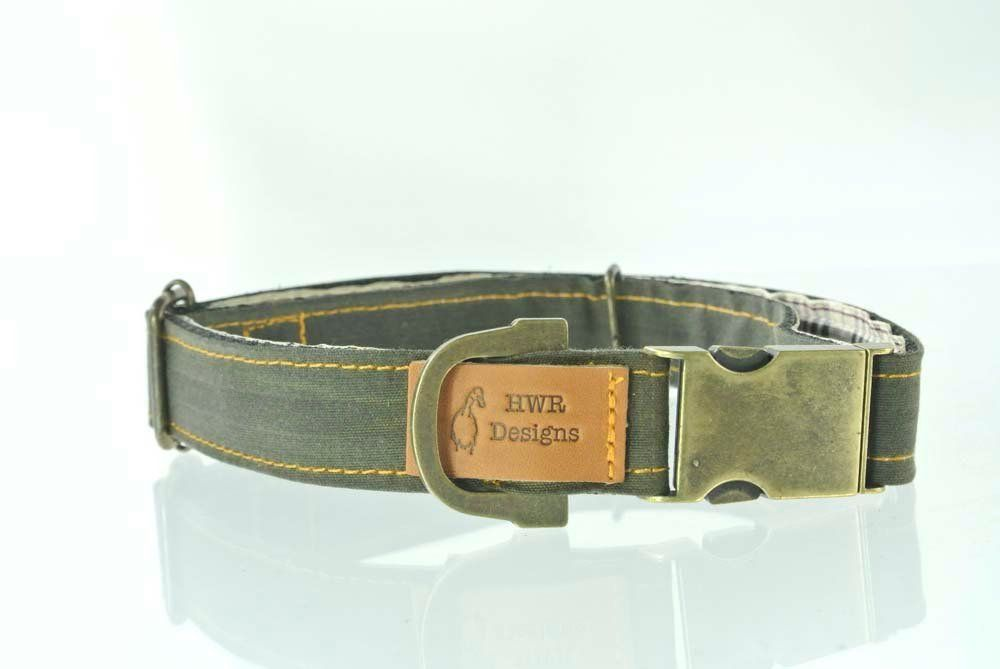 Olive green wax cotton dog collar