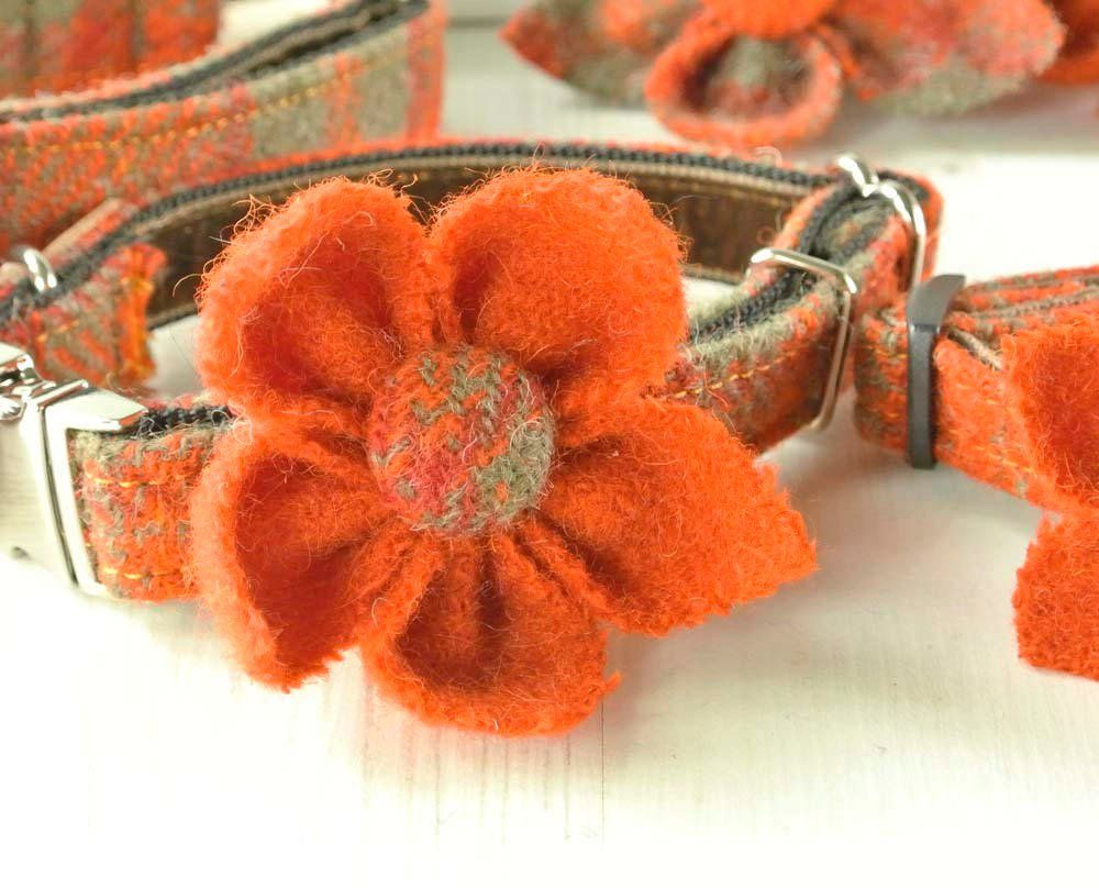 Orange Harris Tweed Flower corsage