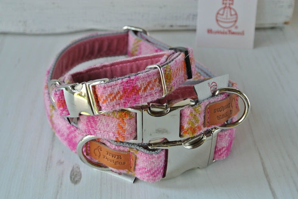 Pink check  tweed Dog Collar