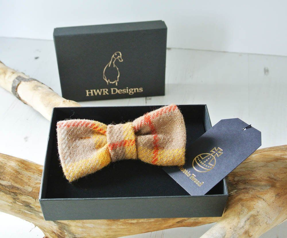 Yellow and orange Harris Tweed dog Bow tie